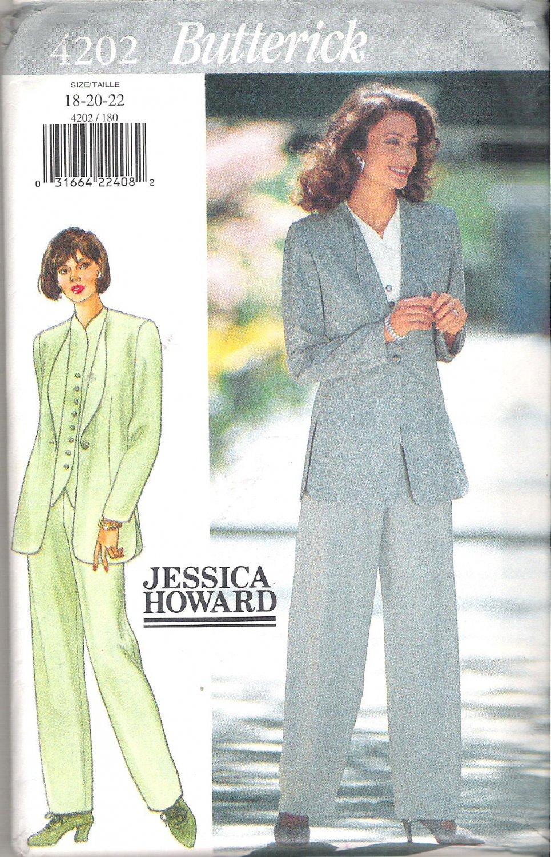 Butterick 4202 (1995) Vintage Pattern Jessica Howard Plus Size Jacket Top Pants 18-22  Uncut
