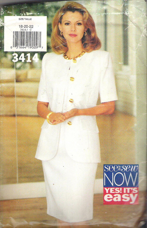 Butterick 3414 (1994) Vintage Plus Size Pattern Jacket Dress 18-22  Cut to 20