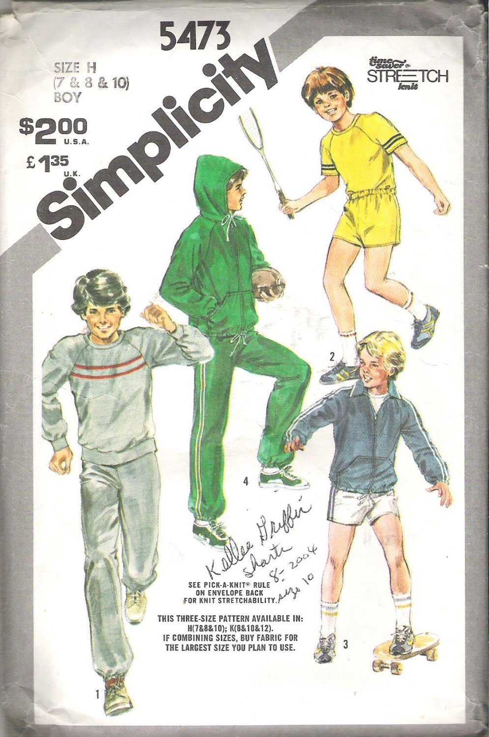 Simplicity 5473 (1982) Vintage Pattern Boys Hoodie Pants Top Shorts Size 7-10  Cut to 10