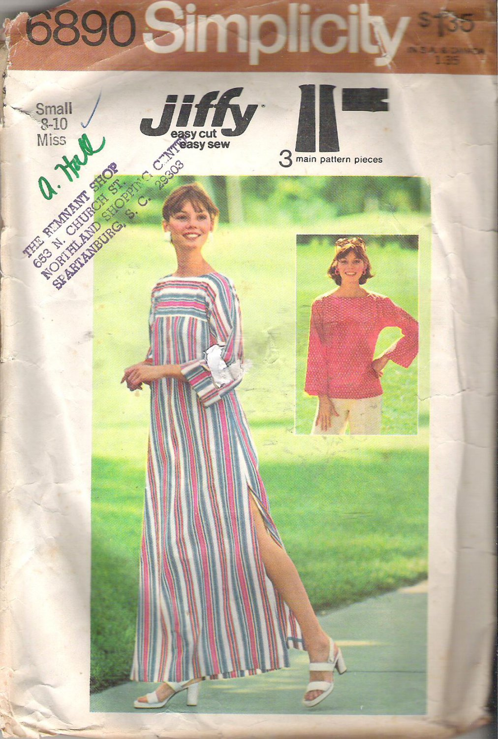 Simplicity 6890 (1975) Vintage Pattern Pullover Caftan or Top  Small Size 8-10  Cut