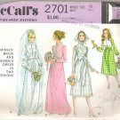 McCalls 2701 (1970) Vintage Pattern Wedding and Bridesmaid Dresses  Size 10  Partial Cut