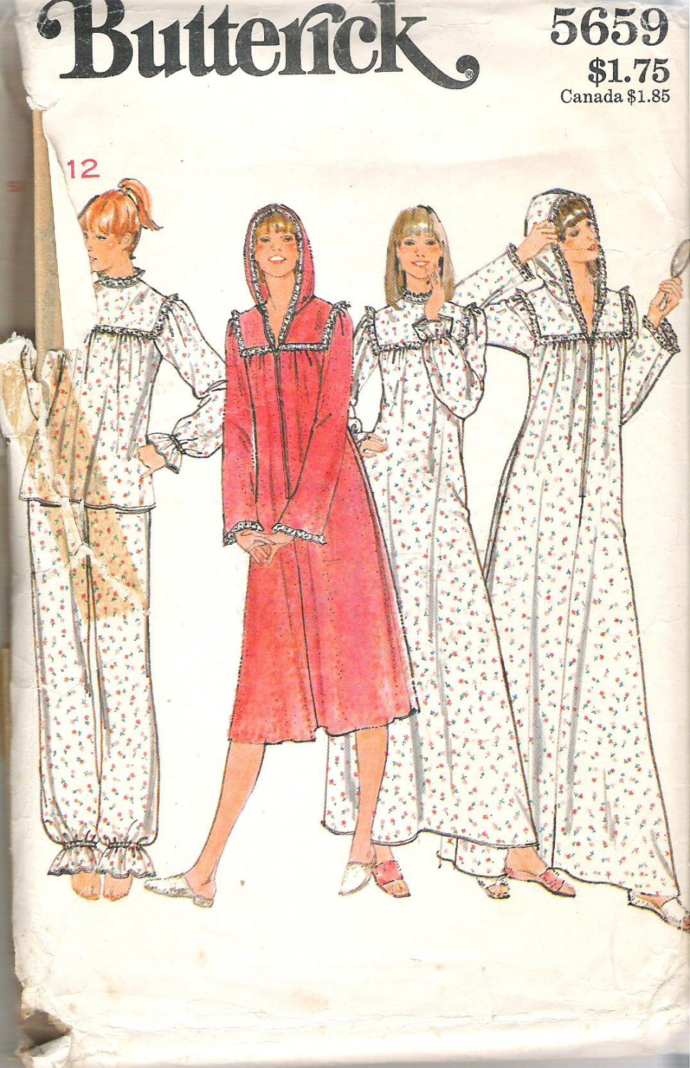 Butterick 5659 Pattern Pajamas Nightgown Robe with Hood  Size 12  Part Cut