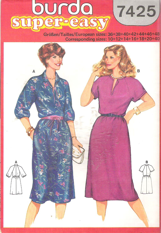 Burda 7425 Pattern Dress Elastic Waist & Long Sleeves Short Sleeves Slit Neckline  Cut to 14
