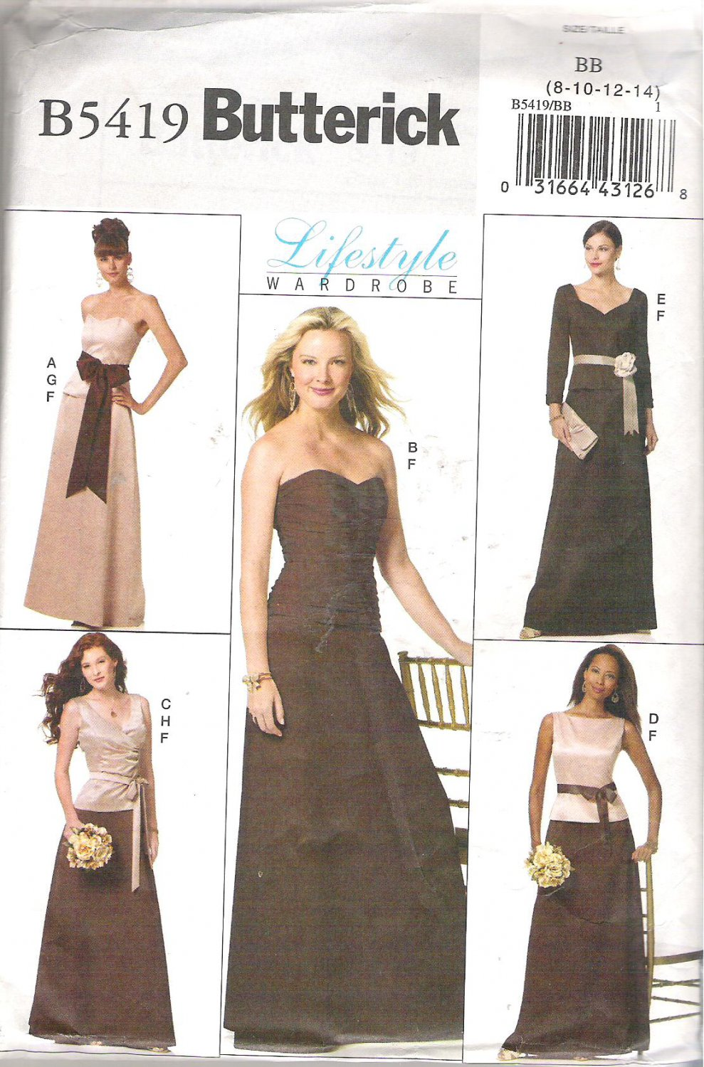 Butterick 5419 (2009) Pattern Special Occasion Wedding Evening Top Skirt Sash  Size 8-14 Uncut
