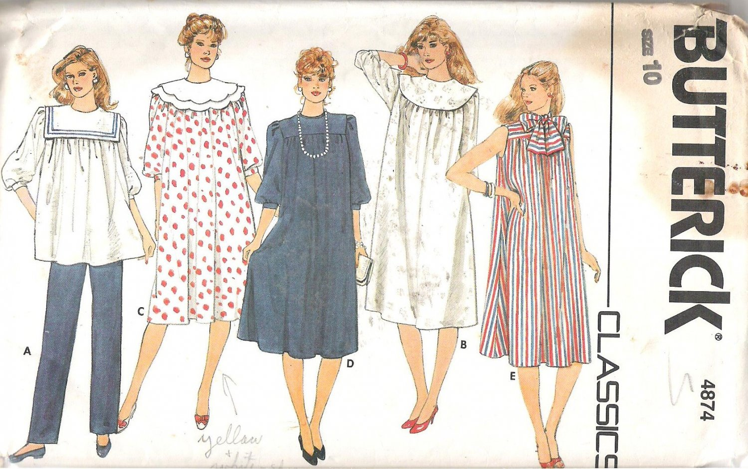 Butterick 4874 Pattern Maternity Dress Tunic Top Detachable Collars Pants Size 10 Part Cut