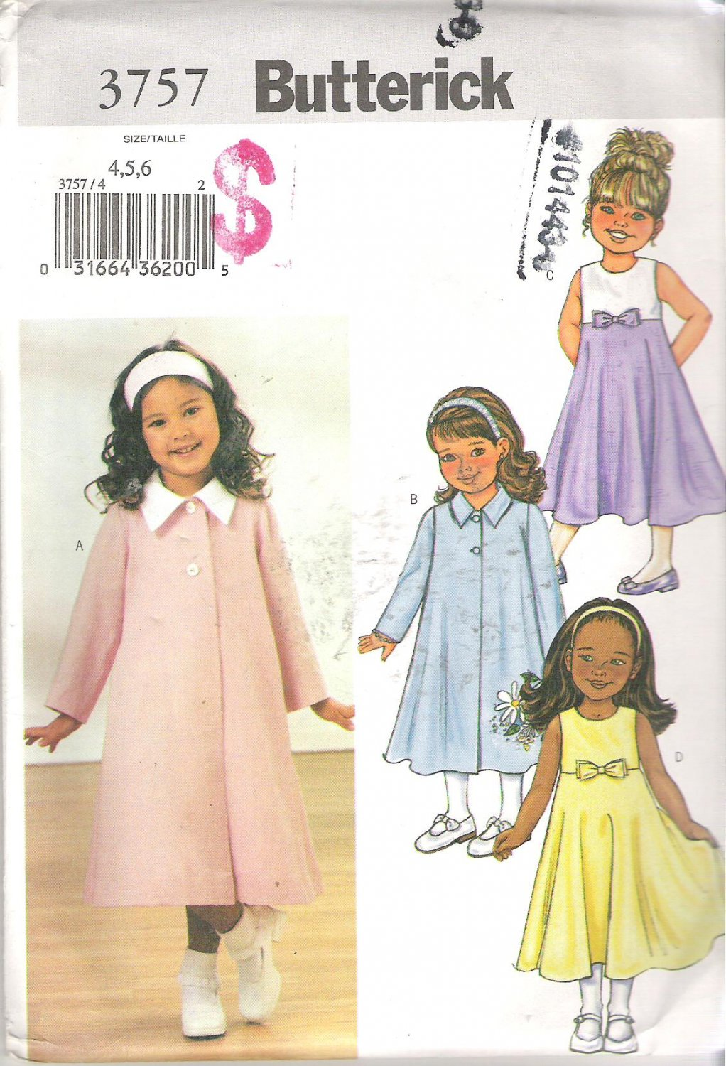 Butterick 3757 Pattern Toddler Child Girls Flared Two Button Coat Dress Size 4-6 Uncut