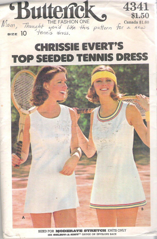 Butterick 4341 Vintage Pattern Chrissie Everet's Tennis Dress Briefs Size 10 Uncut