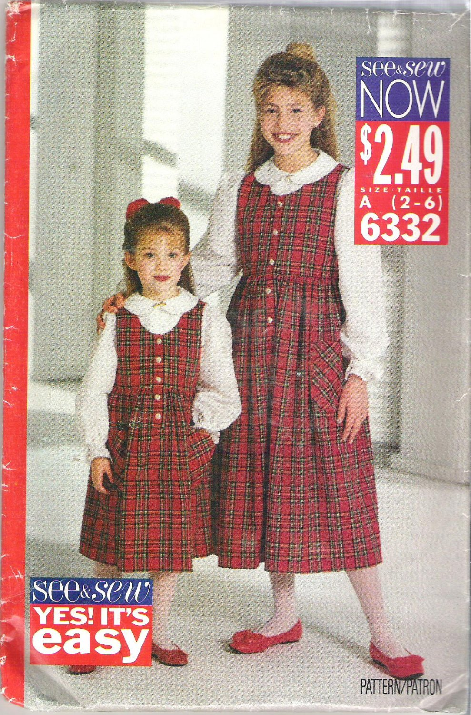 Butterick 6332 (1992) Pattern Childs Girls Jumper Dress Top blouse Shirt Size 2-6 Uncut