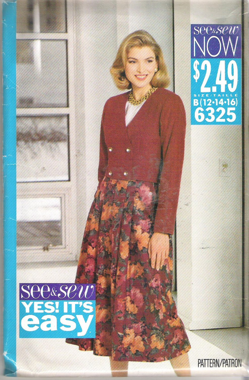 Butterick 6325 (1992) Pattern  Double Breasted Jacket Split Skirt  Blouse Size 12-16  Uncut