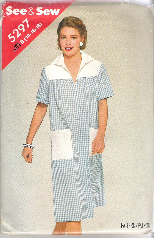 Butterick 5297 Pattern Front Zip Short Sleeve Yoke Dress Patch Pockets Size 14-18 Uncut