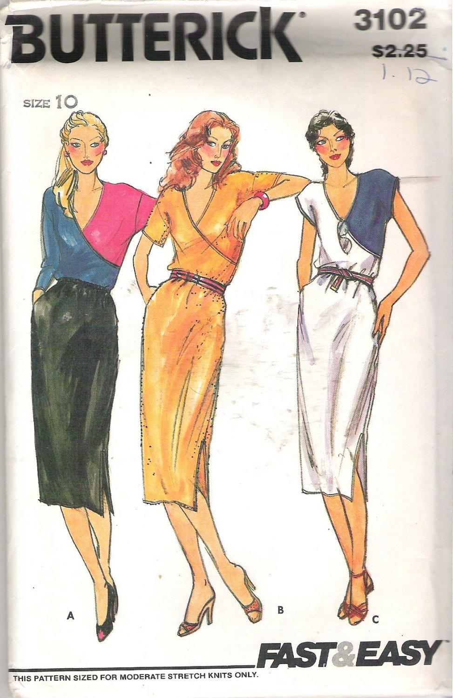 Butterick 3102 Pattern Front Mock Wrap Elastic Waist Dress Size 10 Cut