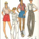 Butterick 6154 Pattern Shorts Pants Suspenders Wide Waistband Mock Fly Size 24 Waist Cut