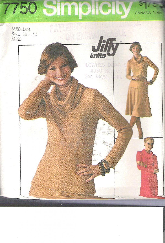 Simplicity 7750 (1976) Vintage Pattern Knit Pullover Dress Top Skirt  Size 12-14  Uncut