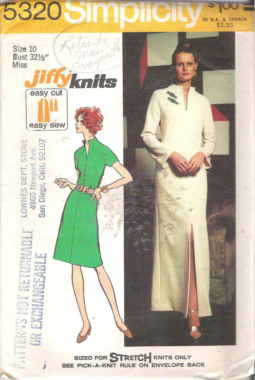 Simplicity 5320 (1972) Vintage Pattern Misses/Petite Long Short  Dress Raised Neck  Size 10 Cut