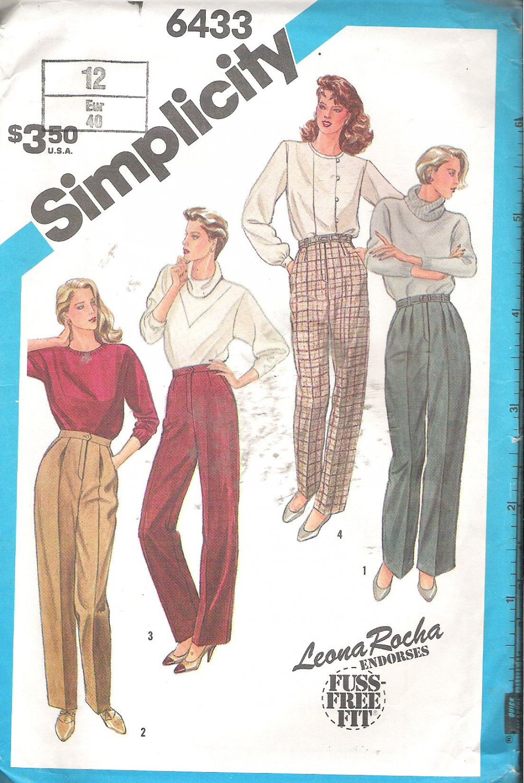 Simplicity 6433 (1984) Pattern Fuss Free Fit Pants Trousers Leg Variations  Size 12 Part Cut