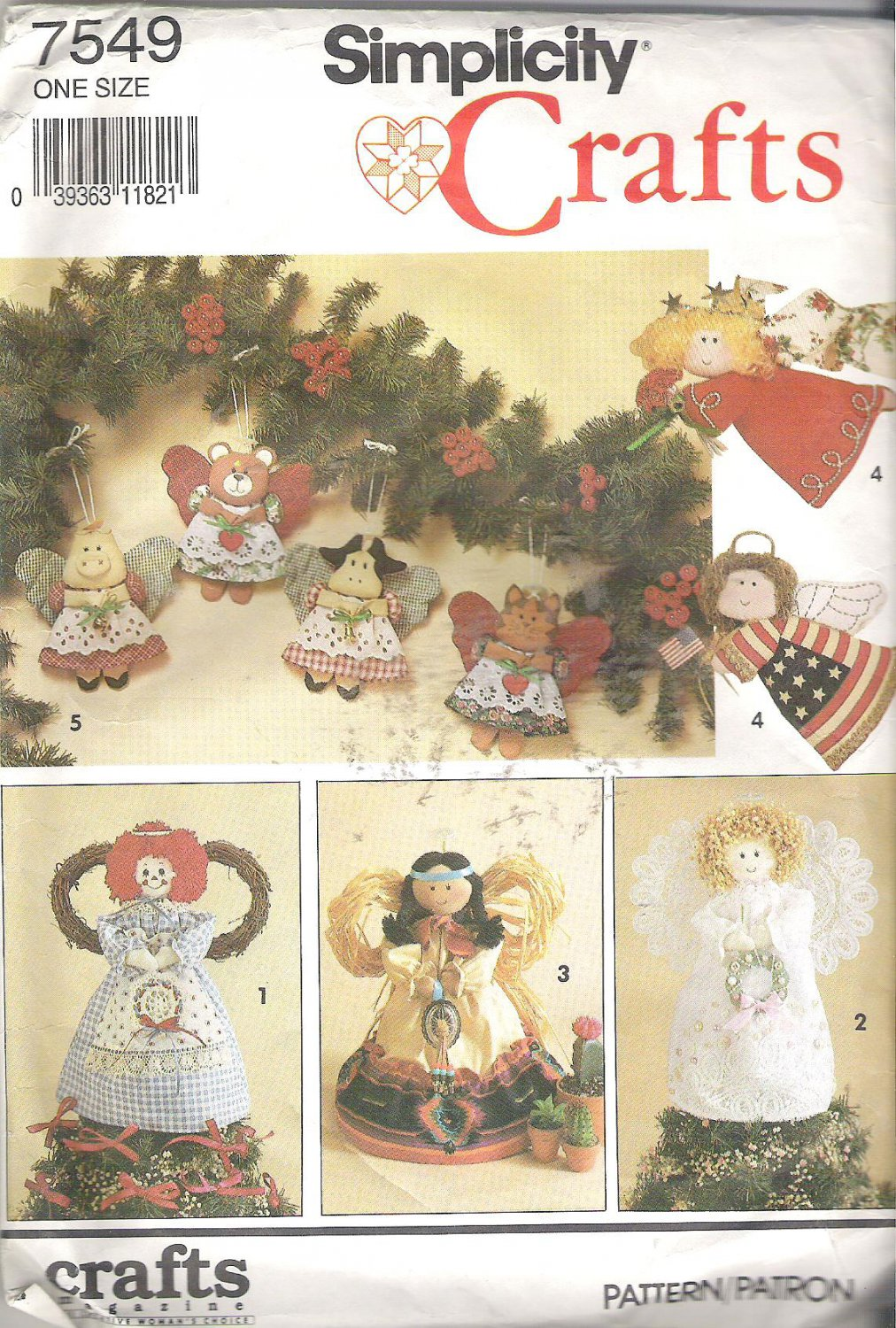 Simplicity 7549 (1991) Pattern Angel Tree Topper Standing Decoration Ornaments  Part Cut