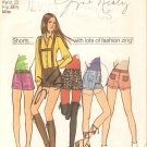 Simplicity 9597 (1971) Vintage Pattern Hip Hugger Short Shorts Suspenders Sie 8 Part Cut