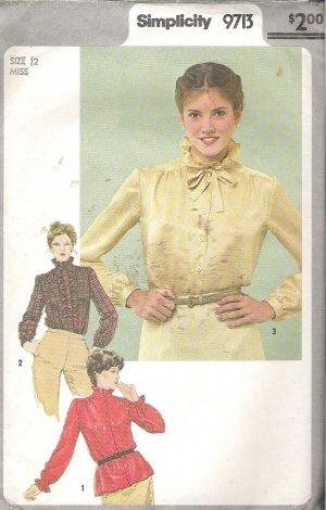 Simplicity 9713 (1980) Pattern Blouse Detachable Jabot Stand-up Ruffle Collar Size 12 Part Cut