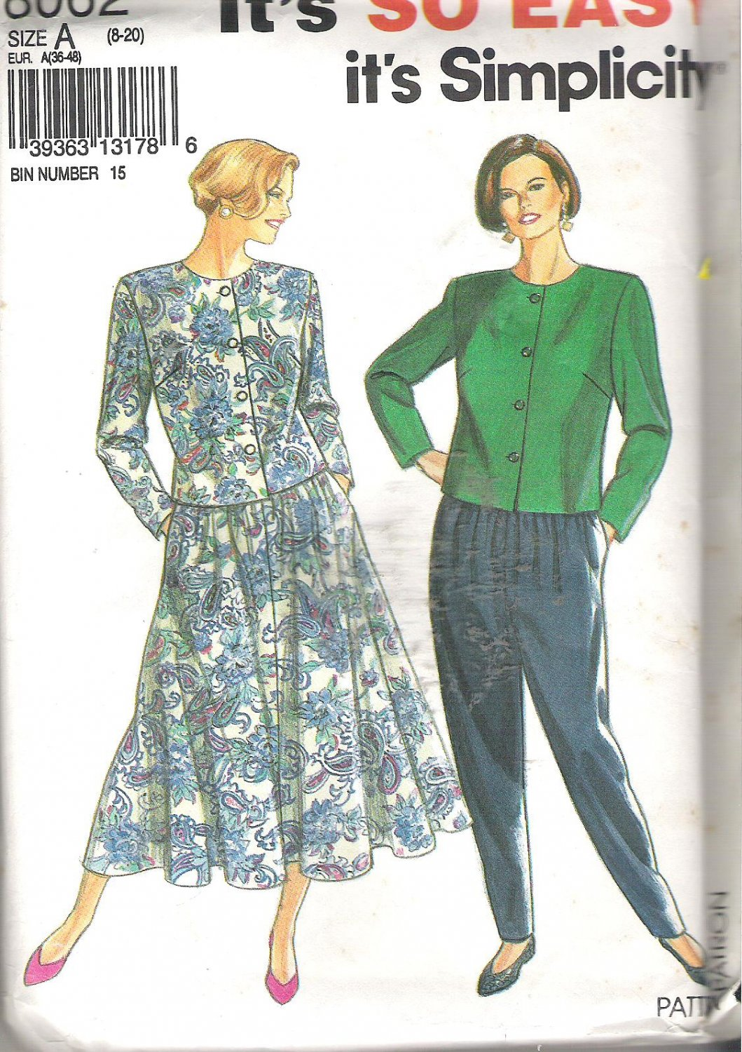 Simplicity 8062 (1992) Pattern Pleated Pants Gored Skirt Front Button Top Plus Size 8-20 Uncut