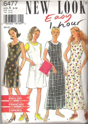 New Look 6477 Pattern Round Neck Sleeveless Long Short Dress Size 6-16 Part Cut to 10