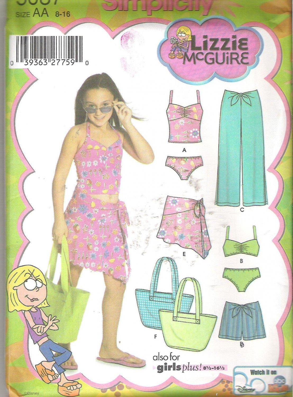 Simplicity 5087 (2004) Lizzie McGuire Girls Plus Pants Shorts Skirt Bag Swimsuit Size 8-16 Uncut