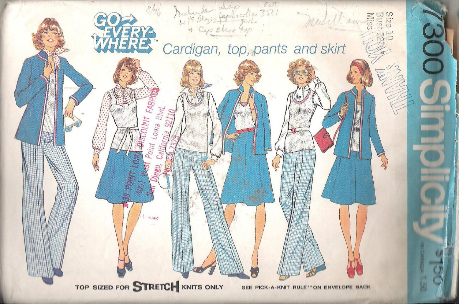 Simplicity 7300 (1975) Vintage Pattern Cardigan Pullover Top Pants Skirt Size 10