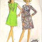 Simplicity 8181 (1969) Vintage Pattern Jiffy Sleeveless Long Sleeve Dress Size 12 Cut