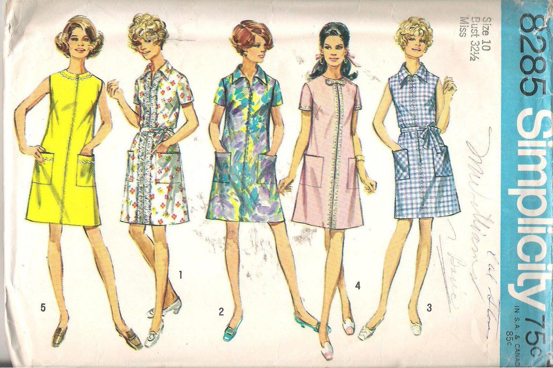 Simplicity 8285 (1969) A-line Dress Front Zipper Patch Pockets Size 10 Cut