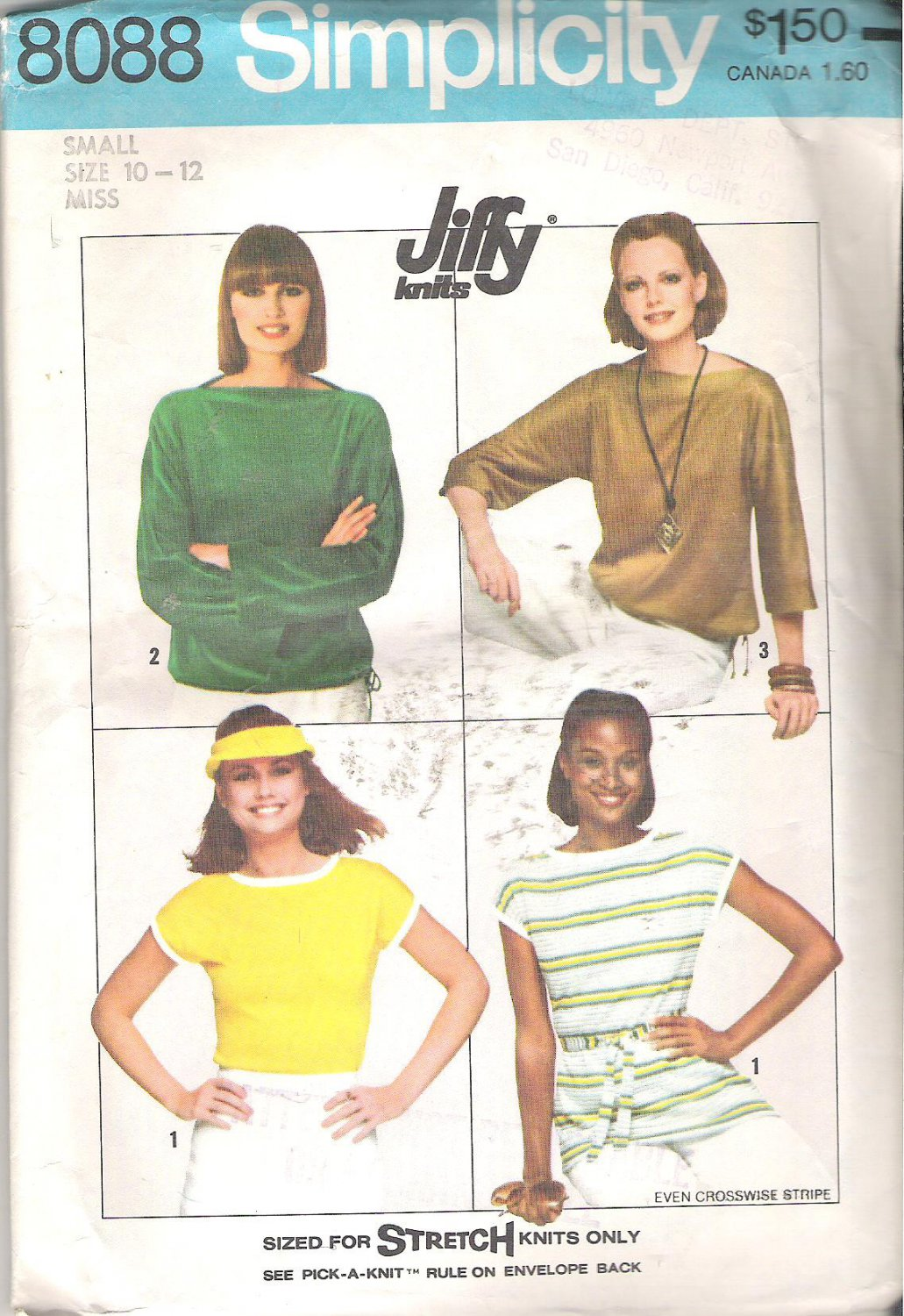 Simplicity 8088 (1977) Vintage Pattern Knit Pullover Bateau Neckline Tops Size 10-12 Part Cut to 12