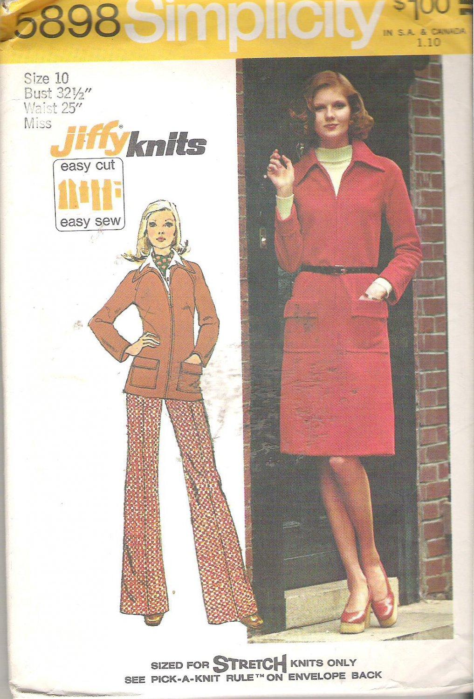 Simplicity 5898 (1973) Vintage Pattern Knit Dress Pants Jacket Top Size 10 Part Cut