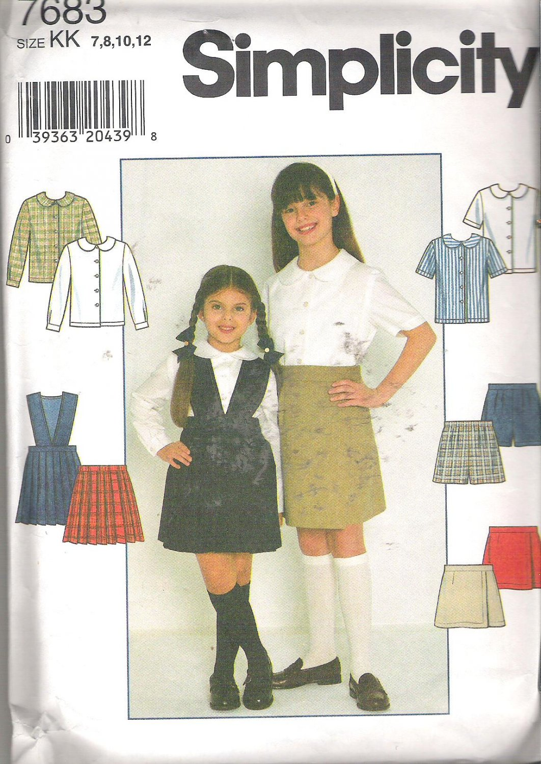 Simplicity 7683 (1997) Pattern Girls Blouse Shorts Skirt Detachable Bodice Size 7-12 Cut to 12