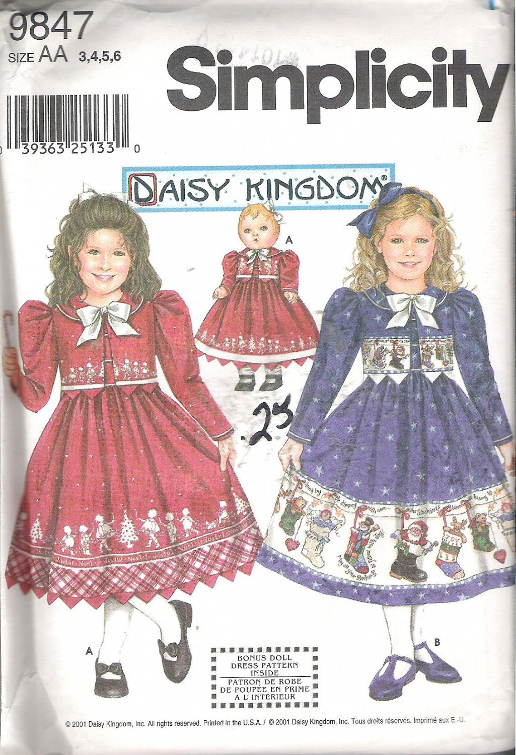Simplicity Daisy Kingdom Childs Girls Dress Jacket Matching Doll Clothes Size 3-6 Uncut