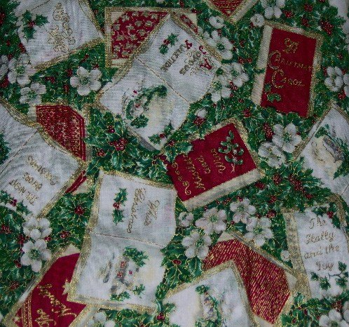 Sing a Song of Christmas Red White Glitter Gold Books Green Holly White Flowers Fabric