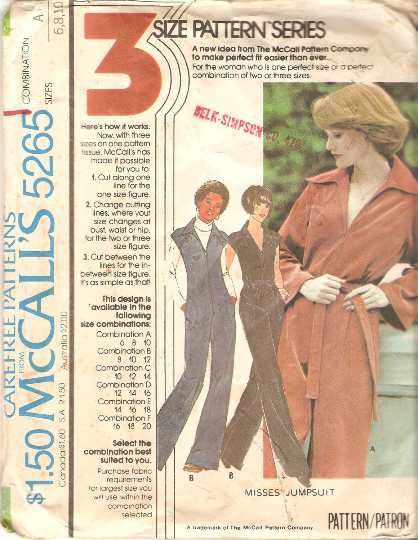 7265 McCalls Vintage (1976) Jumpsuit Pattern Front Zipper Raglan Sleeves Size 6-10 Uncut
