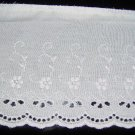 "White Embroidered Cutwork Scallop Edge Trim  4 1/2"" wide x 68"" long"