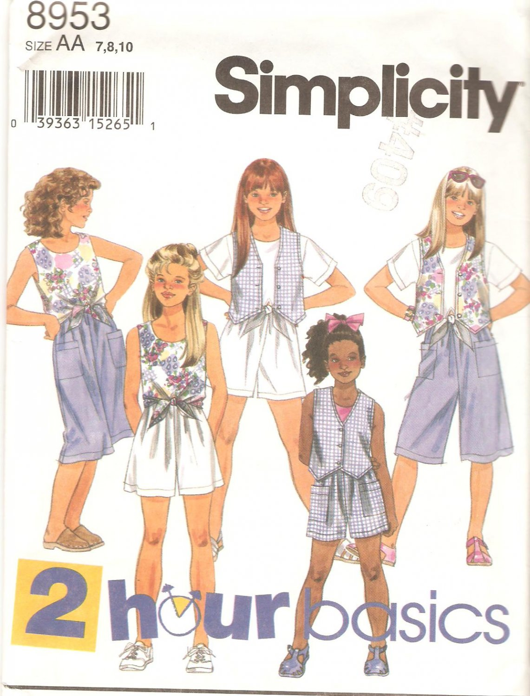 Simplicity 8953 (1994) Girls Shorts Front Tie Tops Lined Vest Pattern  Size 7-8-10  Uncut