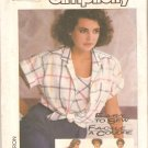 Simplicity 7283 (1985) Button Front Short Sleeve Shirt Bias Sleeveless Top Pattern Size 6-8-10 Uncut