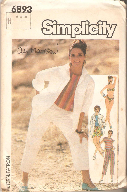 Simplicity 6893 (1985) Shirt Top Shorts Pants Bikini Pattern Size 6-8-10  Partial Cut