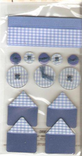 Jolee's Blue Gingham Sampler Ribbon Buttons Scrapbook Crafts Trim