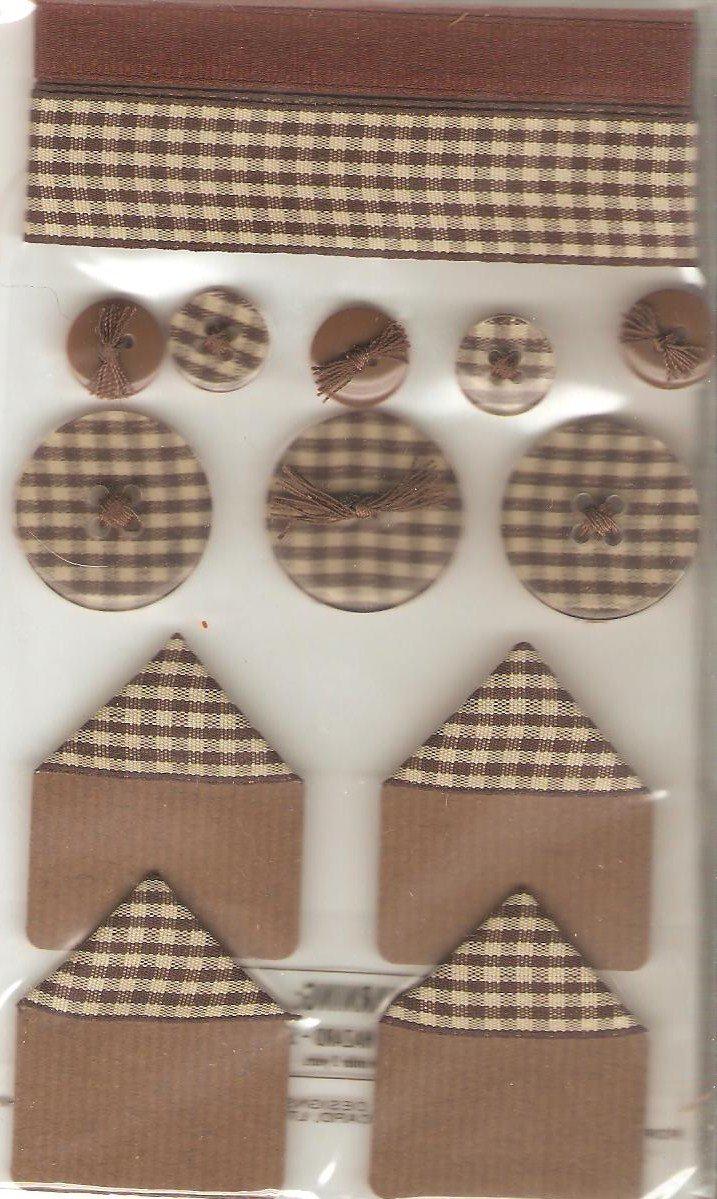 Jolee's Brown Gingham Sampler Ribbon Buttons Scrapbook Crafts Trim