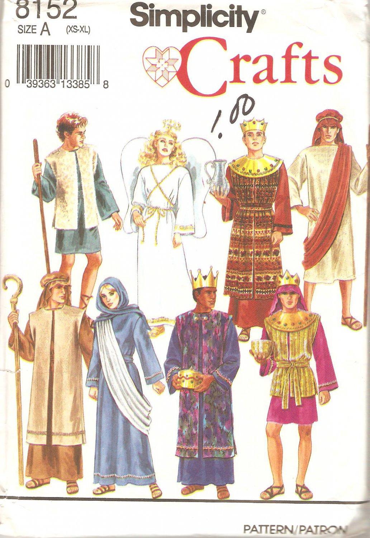 Simplicity 8152 (1992) Wise Men Angel Mary Joseph Shepherd Boy Pattern  All Sizes Uncut