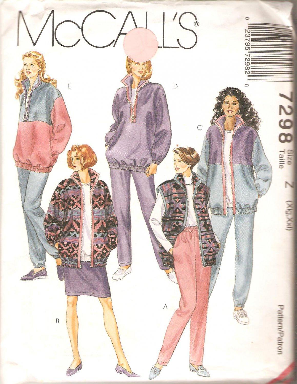 McCalls 7298 (1994) Unlined Jacket Vest Top Skirt Pull-on Pants Pattern Plus Size 20 22 24 26 Uncut