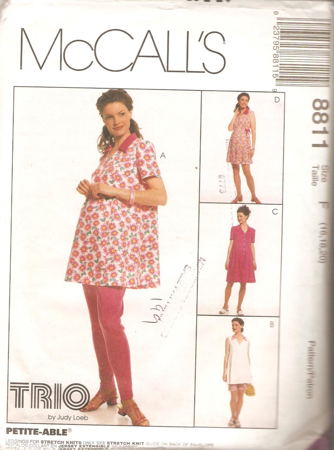 McCalls 8811 (1997) Maternity Tops Romper Dress Leggings Pattern Size 16 18 20 Part Cut