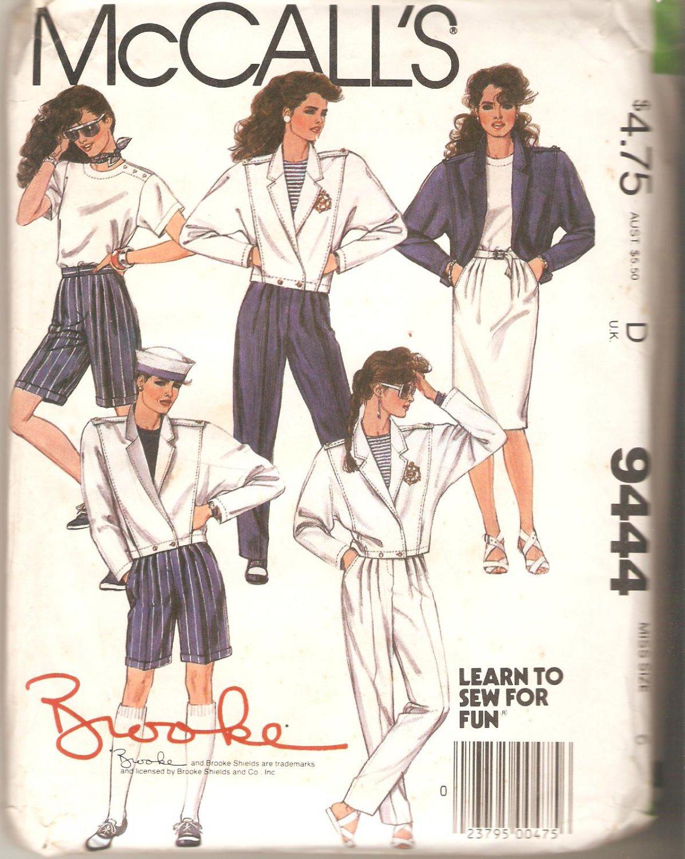 McCalls 9444 Brooke Shields Collection Jacket Top Skirt Pants Shorts Pattern Size 6 Uncut
