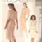 McCalls 3771 (1988) Two Piece Dress Top Front Tucks Peplum Skirt Back Godet Pattern Size 10 Cut
