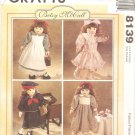 McCalls 8139 (1996) Doll Dress Bloomers Pinafore Hat Tights Headband Shoes Pattern UNCUT