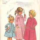 Simplicity 5815 (1973) Childs Toddlers Long Short Robe Nightgown Pattern Size 4 Part Cut