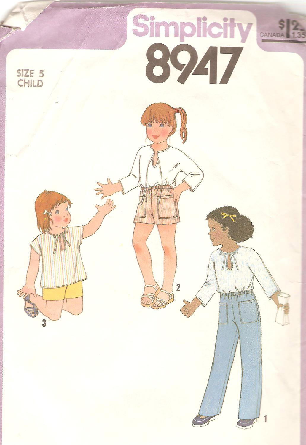 Simplicity 8947 (1979) Childs Pullover Top Neck Tie Shorts Pants Pattern Size 5 Cut