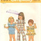 Simplicity 7554 (1976) Girls Toddlers Jumper Top Pants Shorts Pattern Size 1 Cut