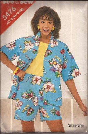 Butterick 5476 (1996) Misses Button Front Shirt Elastic Waist Shorts Pattern Size 14 16 18 UNCUT